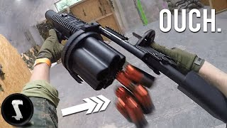 Airsoft Players get F@#€D UP by Painful 40mm Grenade Launcher!