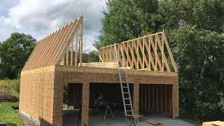 Gambrel Garage Homemade trusses Part 4