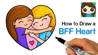 How to Draw Best Friends Forever Heart Easy