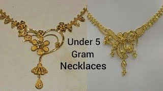 Cheap And Affordable  Gold Necklaces Designs Under 5 Gram