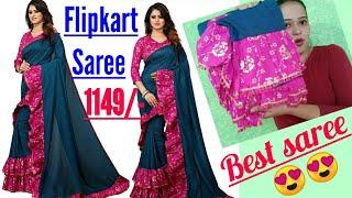 a87c5332d9 Flipkart best ruffle saree | new ruffle saree review