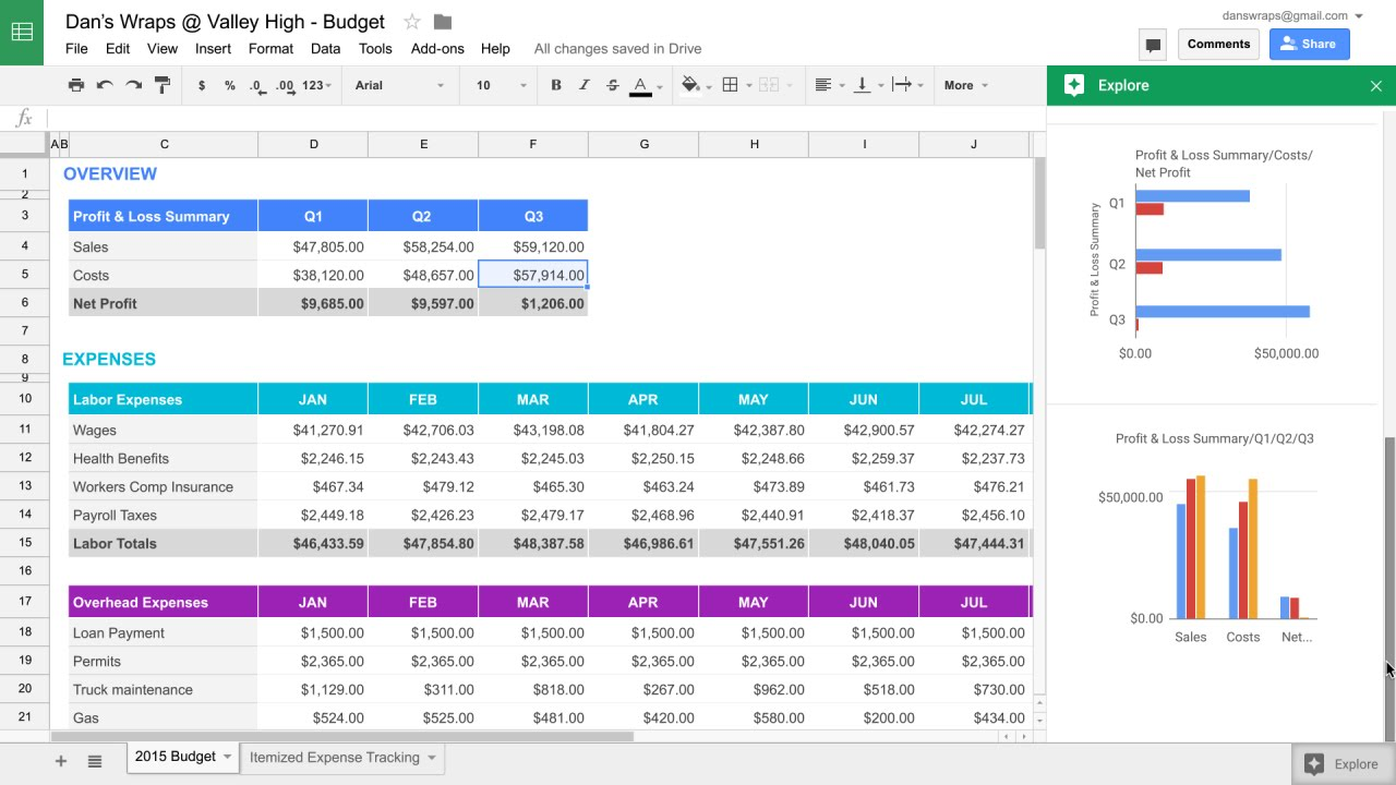Explore in Google Sheets
