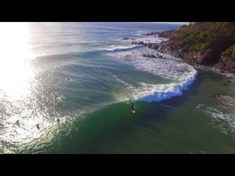 Drone view of fun surf at Crescent Head