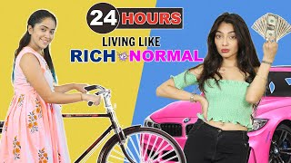 24 Hours Living Like Rich Vs Normal Challenge   Anaysa
