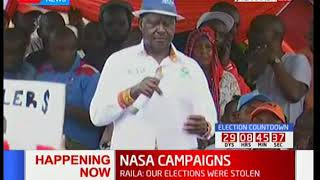NASA supporters chant anti Uhuru slogans during NASA campaigns in Jacaranda