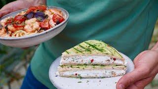 Club sandwich chèvre concombre et linguine aux crevettes et tomates