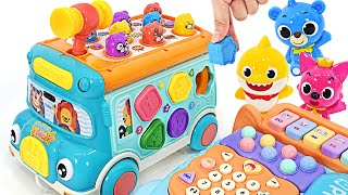 Let's match the baby shark and the exciting smart bus puzzle!   PinkyPopTOY