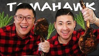 Grilling $150+ TOMAHAWK RIBEYE STEAKS | MUKBANG