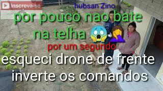Hubsan descuido drone quase bate no telhado investir os comandos