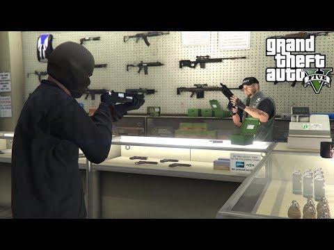 ROBBING GUN STORES IN GTA 5!!! (GTA 5 REAL LIFE PC MOD)