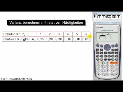 Varianz und Standardabweichung berechnen mit relativen Häufigkeiten (Taschenrechner)