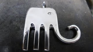 How to make an elephant pendant from an old fork