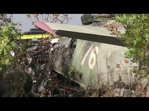 Момент крушения самолета Ан-26 в Харьковской области записали камеры наблюдения. видео