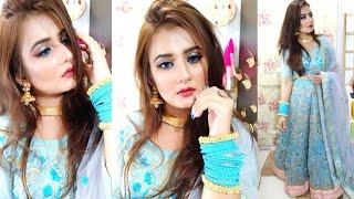 Engagement💙 Reception, Indian Wedding Guest Makeup Look /Sky Blue Glitter Eyes Makeup/ SWATI BHAMBRA