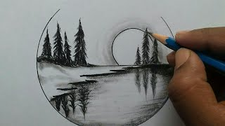 Nature Scenery Drawing For Beginners / Easy And Step By Step