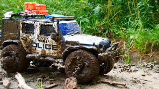 Police car stuck in the mud and RC Car Mud OFF Road