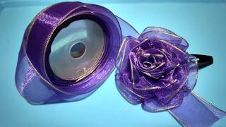 DIY Make Rose Flower With Ribbon, Tutorial Membuat Jepit Rambut Dari Pita
