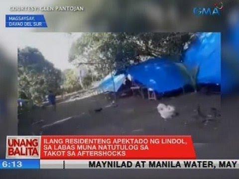 [GMA]  UB: Ilang residenteng apektado ng lindol, sa labas muna natutulog sa takot sa aftershocks