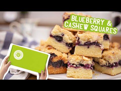Blueberry and Cashew Squares  - Bakedin's September 2019 Baking Club box revealed!