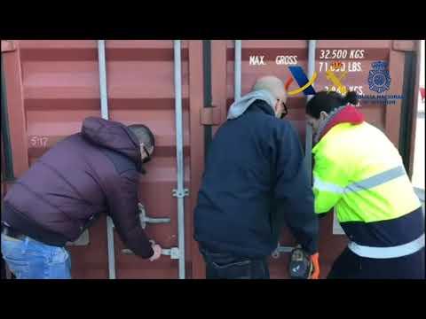 Nuevo golpe al trafico de drogas en el Puerto de Valencia. Mas de 1.100 kilos de cocaina incautados.
