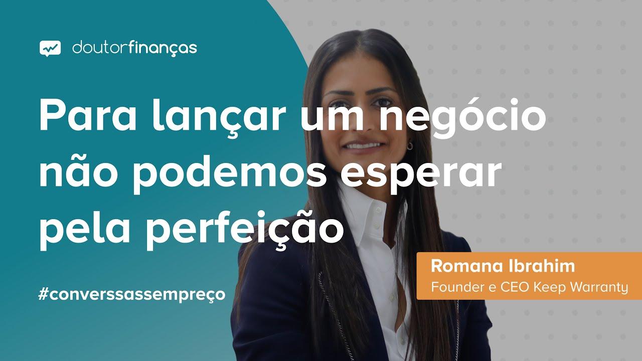 telemóvel onde se pode ver uma imagem da entrevista que Rui Bairrada, CEO do Doutor Finanças, fez a Romana Ibrahim, CEO da Keep Warranty