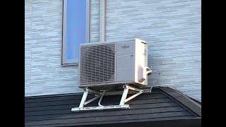 エアコン取外し運搬取付、室外機を屋根に設置