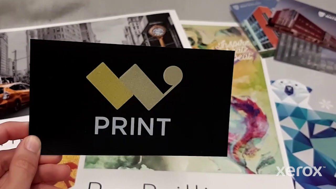 Metallic ink print sample on the Xerox® Iridesse™ Production Press YouTube Video