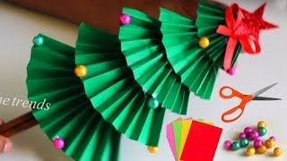 How to make christmas tree with paper for kids    christmas tree decoration ideas    DIY Xmas tree