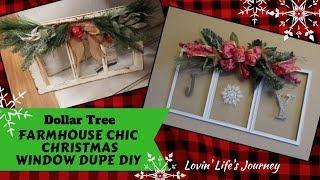Farmhouse Chic Dollar Tree DIY Christmas Joy Window Decor Dupe & How to Make a Ribbon Bow