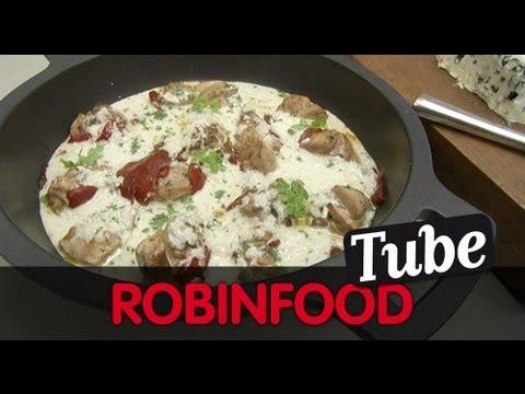ROBINFOOD / Confitura de piña con yogur + Pollo con queso azul y amontillado
