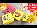Easy Emoji Notebook ONE Sheet of Paper - NO GLUE Notebook - Emoji Notebook DIY - Paper Crafts