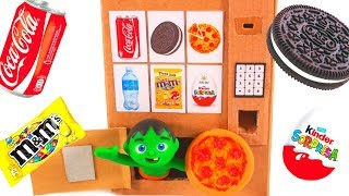 KIDS BUILD A PIZZA VENDING MACHINE ❤ SUPERHERO PLAY DOH CARTOONS FOR KIDS