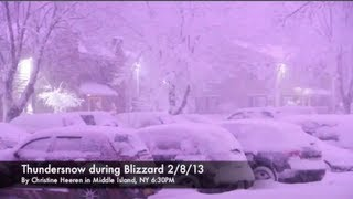 THUNDER SNOW with Blizzard Nemo on Middle Island, NY!