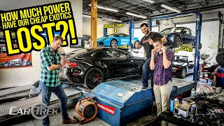 Find your DREAM car on AutoTempest!►https://bit.ly/CarTrekAT4 Thanks to AutoTempest.com for sponsoring this series! -------------------------------------------------------------------- On today's episode of Car Trek, AutoTempest challenged the guys to test their used exotic cars' power levels in a dyno test. Tyler's Ferrari 360 may have the least amount of power, but he has a secret that may give him the edge. Freddy's Aston Martin V12 Vantage S is the big dog power-wise, but that also means it has the most power to lose, and Ed's Lamborghini Gallardo is on its last legs. These cars may be cheaper than a C8 Corvette, but will they survive these runs?  #CarTrek #CheapExotics #FoundOnAutoTempest -------------------------------------------------------------------- COMPLETE CAR TREK PLAYLIST: Car Trek Episode 1 ► https://youtu.be/Dom6bmnd_Dc Car Trek Episode 2 ►https://youtu.be/wPi1BJw-zsc Car Trek Episode 3 ►https://youtu.be/SJGWk9nX49U Car Trek Episode 4 ►https://youtu.be/9Woe-PnI9qg -------------------------------------------------------------------- The story of Tyler's Ferrari 360 Spider ►https://www.youtube.com/watch?v=IK0OK... The story of Ed's Lamborghini Gallardo►https://www.youtube.com/watch?v=2cjzI... -------------------------------------------------------------------- Car Trek on social media: Instagram ►https://www.instagram.com/cartrekofficial  Tavarish:  Instagram ►https://www.instagram.com/therealtavarish YouTube► https://www.youtube.com/tavarish  Tyler Hoover: Instagram ►https://www.instagram.com/the_real_hoovies_garage YouTube ►https://www.youtube.com/channel/UCdEc...  Ed Bolian:  Instagram► https://www.instagram.com/vinwiki_official YouTube ►https://www.youtube.com/channel/UCefl... -------------------------------------------------------------------- BIG Thanks to our amazing production crew:  Jordan Cole► https://www.instagram.com/trustinthemachine Brent Baxter► https://www.instagram.com/sidebproductions Frazer Spowart► https://www.instagram.com/fraze