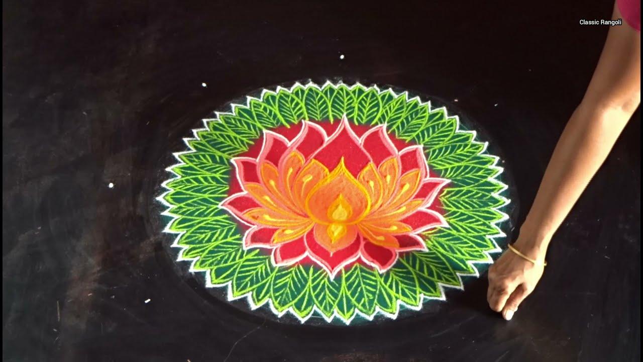 traditional aadi velli kolam design by classic rangoli
