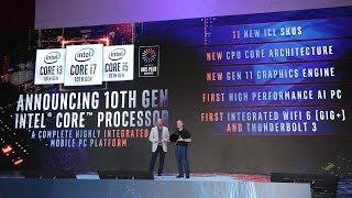 Intel Keynote @ Computex 2019 - Intel 10th Gen CPU - Ice Lake 10nm - Iris Plus Graphics - & More...