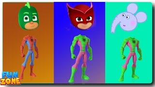 Wrong Heads Spiderman PJ Masks Paw Patrol Finger Family Learning Colors for Kids