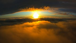 Sunset Between Cloud Layers - DJI FPV System on Custom Skyhunter Plane