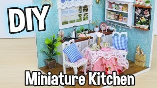 DIY Miniature Dollhouse Kit Cute Kitchen Room With Working Lights! / Relaxing Craft