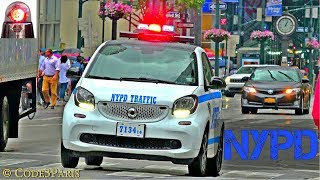 NYPD Mercedes Benz Smart Fortwo Cars With Lights And Horn Blips Compilation