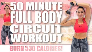 50 Minute FULL BODY CIRCUIT WORKOUT!  🔥Burn 530 Calories! 🔥Sydney Cummings