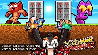 Manhunt PIXELMON but I Cheat to STEAL POKEMON! (1 Speedrunner vs 4 Hunters)