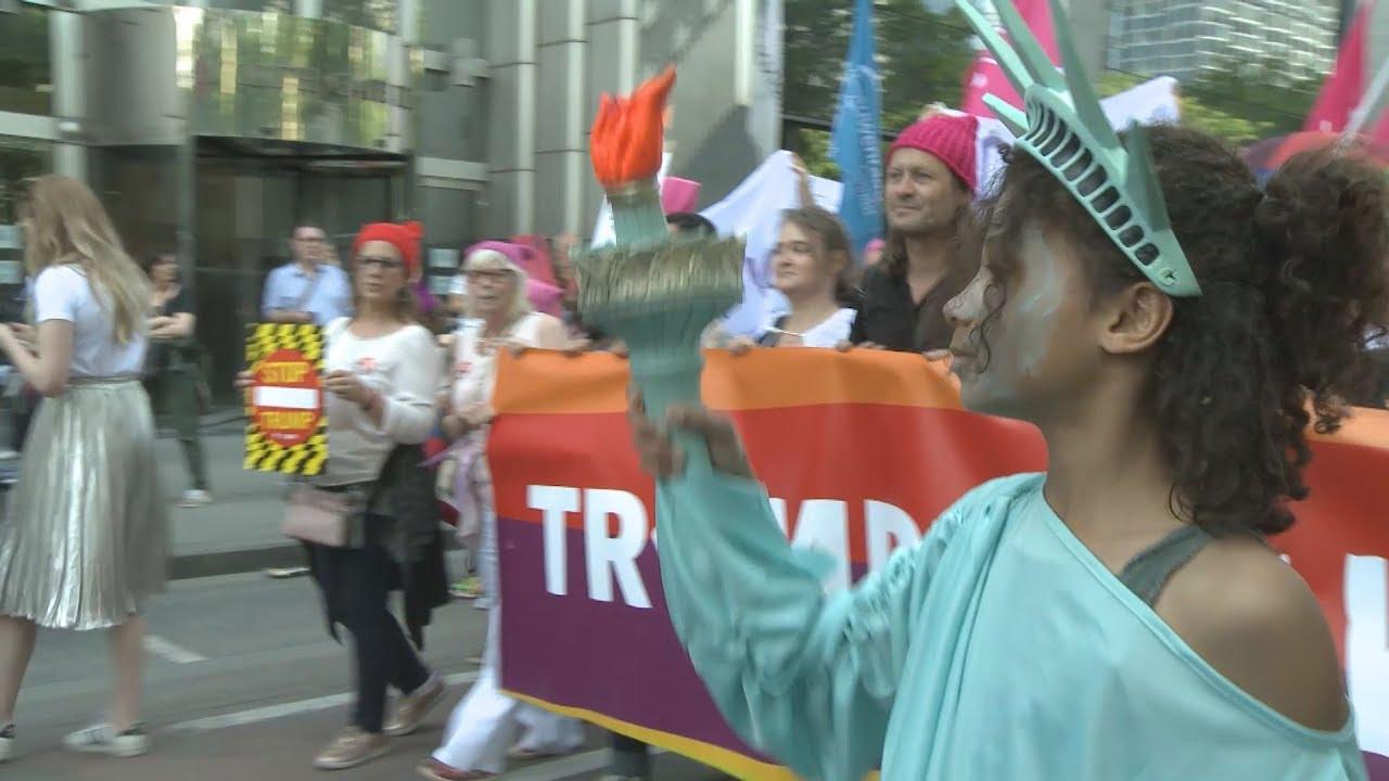 Ειρηνικές διαδηλώσεις κατά του Ν.Τράμπ στις Βρυξέλλες