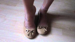 Camel Ballet Flats And Tan Nylons   Shoeplay And Dangling