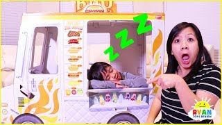 Ryan sleeping on Food Truck Playhouse Delivery Pretend Play!!!