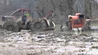 Skidder Pulls Another Skidder And A Chevy 4x4 Out Of DEEP MUD