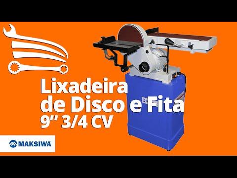 Lixadeira de Disco e Fita 9 Pol. 3/4CV Trifásico  - Video