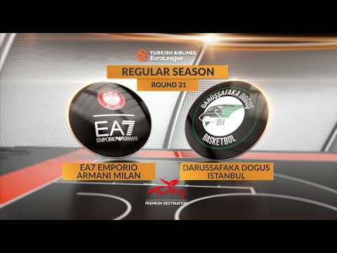 EuroLeague Highlights RS Round 21: EA7 Emporio Armani Milan 89-87 Darussafaka Dogus Istanbul