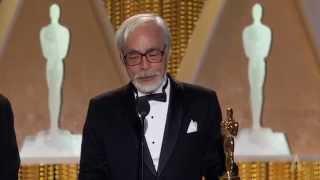 Hayao Miyazaki receives an Honorary Award at the 2014 Governors Awards