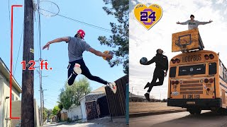 I DUNKED ON A 12 FOOT HOOP and The KOBE BRYANT BASKETBALL BUS!